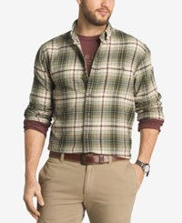 G.H. Bass And Co. Men's Plaid Flannel Long Sleeve Shirt Olive Green