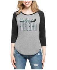 47 Brand '47 Women's Philadelphia Eagles Club Block Raglan T Shirt Gray Black