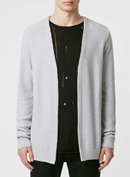 Topman Grey And White Textured Cardigan