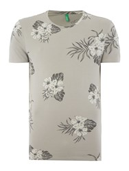 United Colors Of Benetton Tropical Floral Print Short Sleeve T Shirt Grey