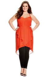 Plus Size Women's City Chic 'Waterfall' Strappy Racerback Tunic.