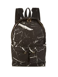 Off White Marble Print Canvas Backpack