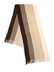 Saks Fifth Avenue Striped Cashmere Scarf Brown Combo