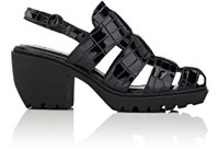 Opening Ceremony Women's Croc Stamped Leather Fisherman Sandals Navy