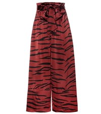 Ganni Iona Silk Blend Trousers Red
