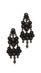 Tory Burch Leather Backed Chandelier Earrings Black
