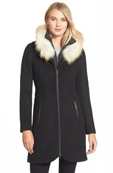 Soia Kyo 'Charlene' Wool Blend Coat With Genuine Fox Fur Black