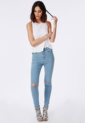Missguided Edie High Waisted Ripped Knee Skinny Jeans Bleached Blue Blue
