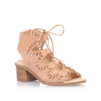 Carvela Koala Mid Heel Lace Up Sandals Nude