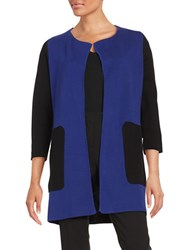 Nipon Boutique Colorblocked Cardigan Black Blue