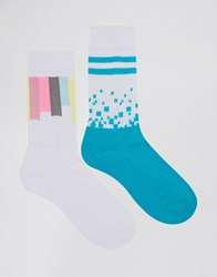 Asos Sports Style Socks 2 Pack With Digital Geo Design White
