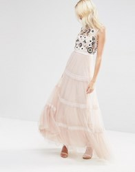 Needle And Thread Tiered Woodland Maxi Dress Petal Pink