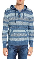 Faherty Men's Mixed Knit Hooded Henley Sweater
