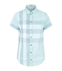 Burberry House Check Short Sleeve Shirt Female Turquoise