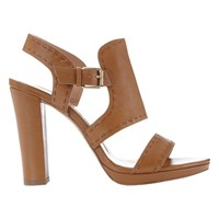 Mint Velvet Hope Block Heeled Sandals Neutral Leather