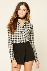 Forever 21 Button Front Tartan Plaid Shirt