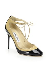 Jimmy Choo Tyler 100 Patent And Matte Leather Ankle Tie Pumps Black Nude