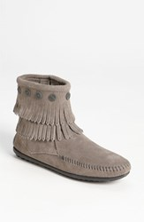 Women's Minnetonka 'Double Fringe' Boot Grey