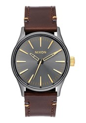 Nixon Gunmetal And Gold Dial Sentry 38 Leather Strap Watch Brown