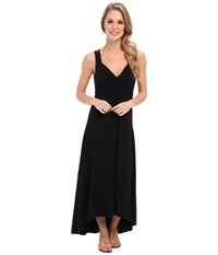 Mod O Doc Cotton Modal Spandex Jersey Shirred Crossover Hi Low Dress Black Women's Dress