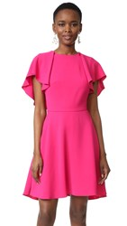 Monique Lhuillier Flutter Sleeve Dress Magenta