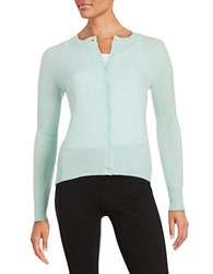 Lord And Taylor Petite Basic Crewneck Cashmere Cardigan Iced Aqua Heather