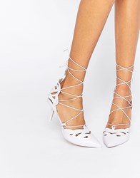 Asos Siren Lace Up Pointed Heels Lilac Purple