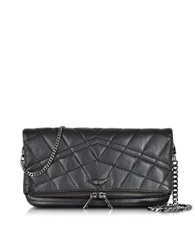 Zadig And Voltaire Rock Mat Matelasse Leather Clutch W Chain Strap