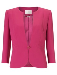 Jacques Vert Button Crepe Jacket Dark Pink
