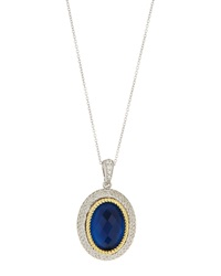 Jude Frances Blue Quartz And White Sapphire Pendant Necklace