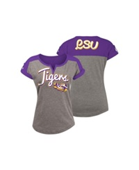 5Th And Ocean Women's Lsu Tigers Rolled Sleeve T Shirt Gray