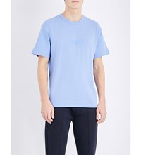 Kenzo Logo Embroidered Cotton Jersey And Stretch Cotton T Shirt Lavender