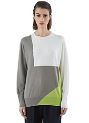 Agnona Crew Neck Block Knit Sweater Grey