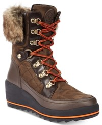 Guess Women's Leland Mid Calf Winter Boots Women's Shoes Brown