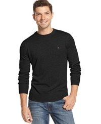 Tommy Hilfiger Men's Big And Tall Signature Solid V Neck Sweater Deep Knit Black