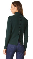Victoria Beckham Button Back Turtleneck Sweater Alpine Green