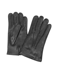 Forzieri Men's Cashmere Lined Black Italian Deer Leather Gloves