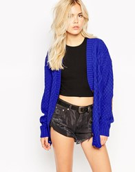 Glamorous Cardigan With Elbow Patches Colbaltblue