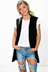 Rosie Sleeveless Collared Short Duster Black