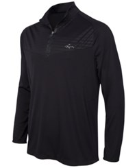 Greg Norman For Tasso Elba Embossed Quarter Zip Shirt Only At Macy's Deep Black
