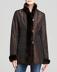Maximilian Quilted Jacket With Rabbit Fur Trim Black Brown
