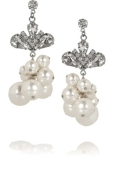 Tom Binns Regal Rocker Rhodium Plated Swarovski Crystal And Pearl Earrings White