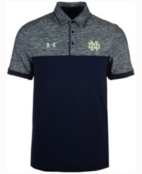 Under Armour Men's Notre Dame Fighting Irish Podium Polo Shirt Navy Heather