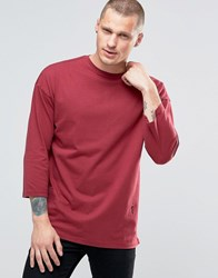 Religion 3 4 Sleeve Crew Neck Top With Drop Shoulder Detail Tibetan Red