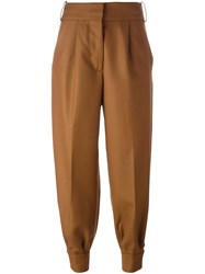 Marni Pleat Front Tapered Leg Trousers Brown