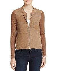 Majestic Filatures Perforated Leather Front Bomber Jacket Grain De Cafe