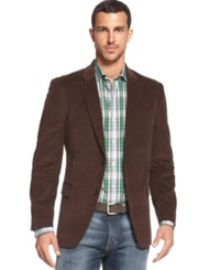 Tommy Hilfiger Solid Trim Fit Corduroy Sport Coat With Elbow Patches Dark Brown
