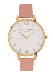 Olivia Burton Big Dial Gold Plated Watch Pink