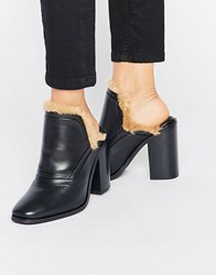 Sol Sana Fever Faux Fur Leather Heeled Mules Black Leather W Fur