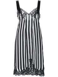 Givenchy Lace Panel Striped Cocktail Dress Black